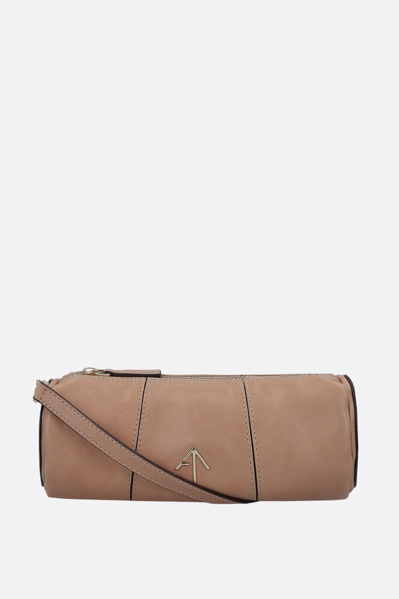 MANU ATELIER: Mini Cylinder crossbody bag in shiny leather Color Neutral_2