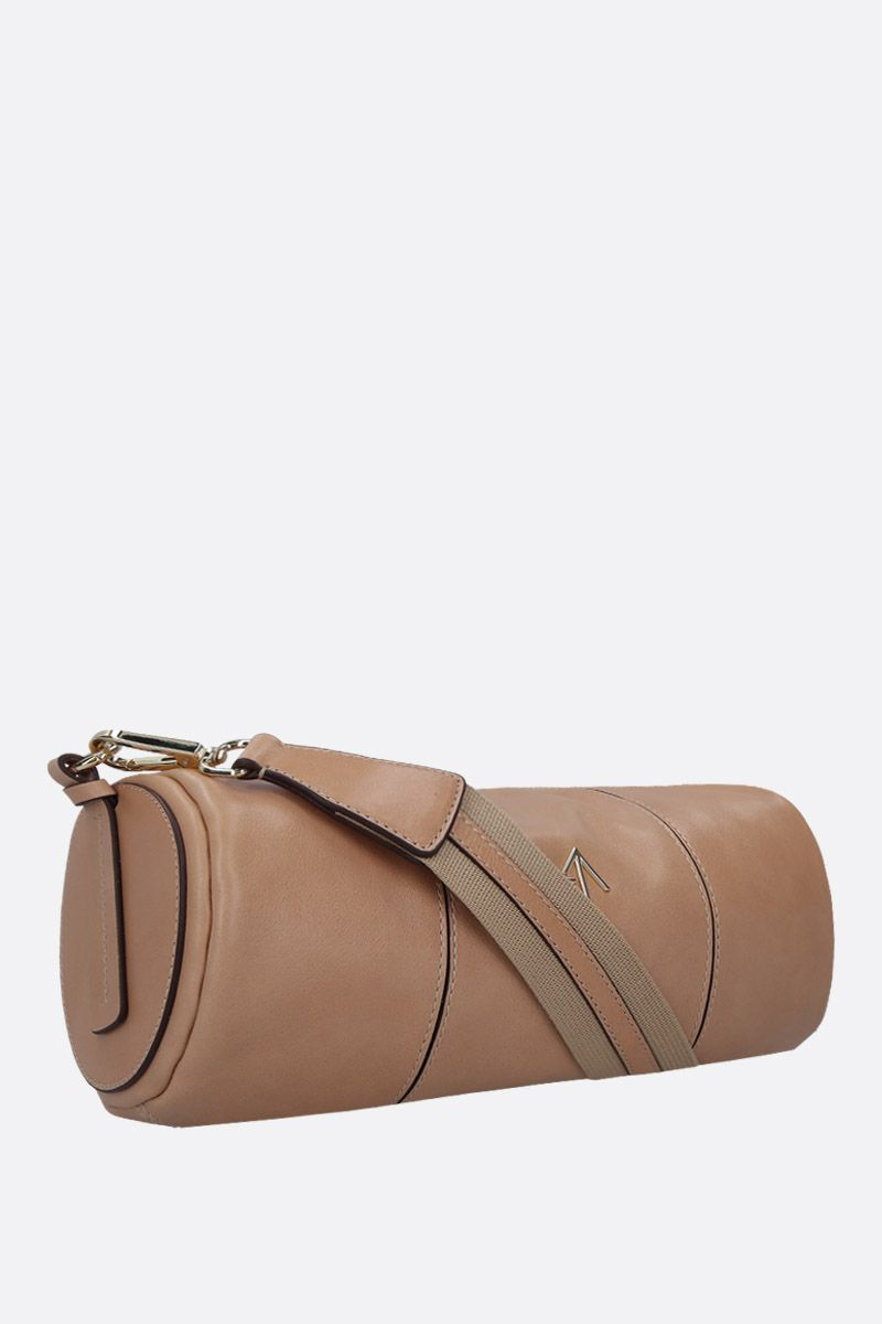 MANU ATELIER: Cylinder crossbody bag in shiny leather Color Neutral_2