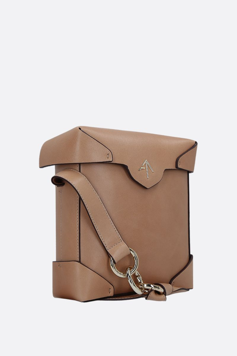 MANU ATELIER: Pristine Mini crossbody bag in smooth leather Color Neutral_2