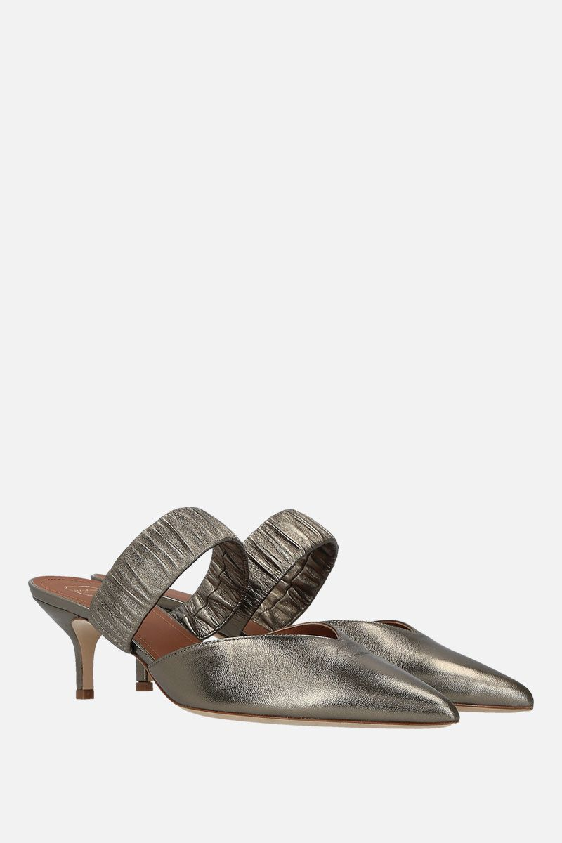 MALONE SOULIERS: Matilda mules in metallic nappa Color Grey_2