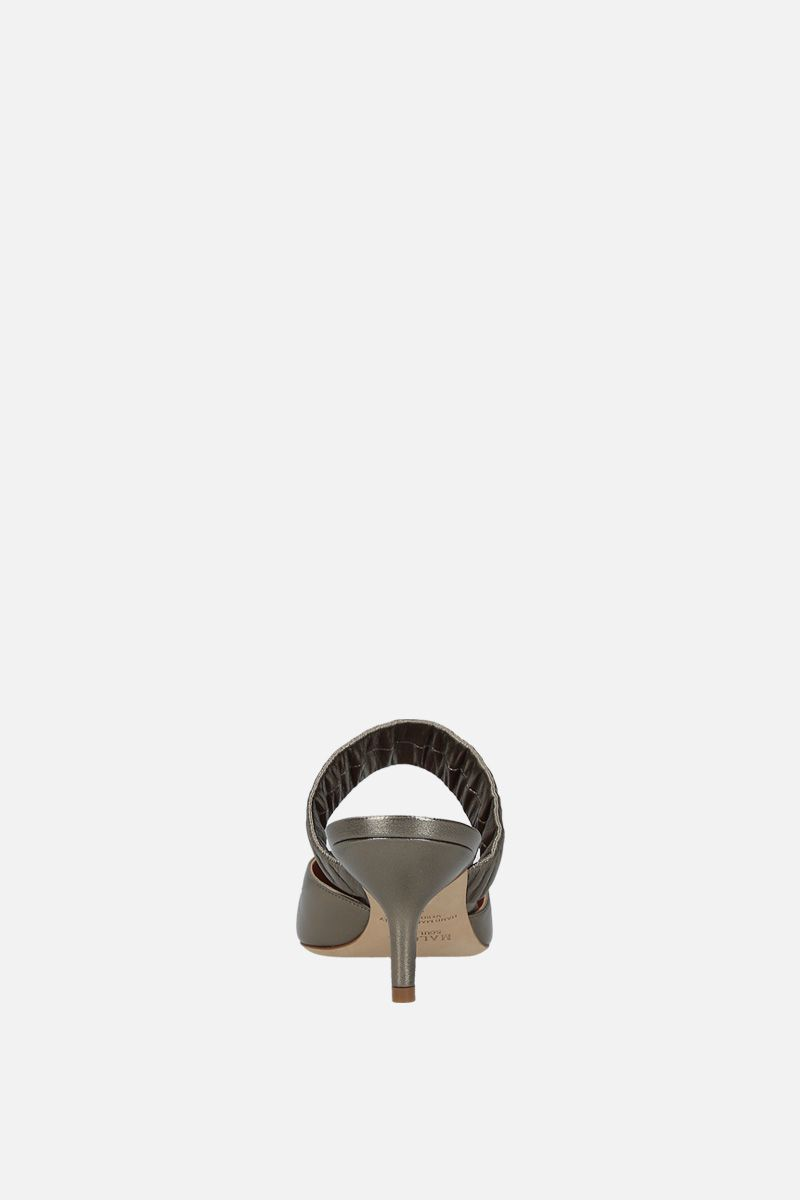 MALONE SOULIERS: Matilda mules in metallic nappa Color Grey_3