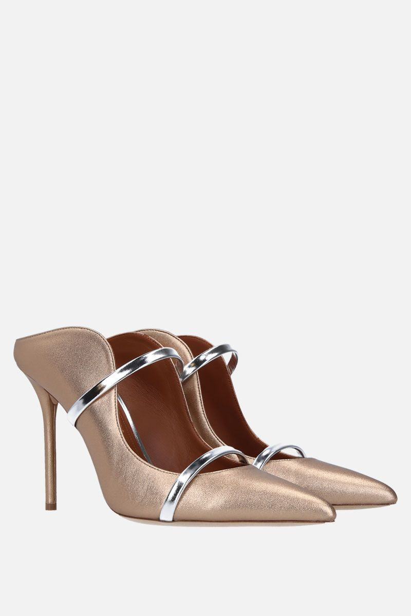 MALONE SOULIERS: Maureen soft laminated nappa mules Color Gold_2