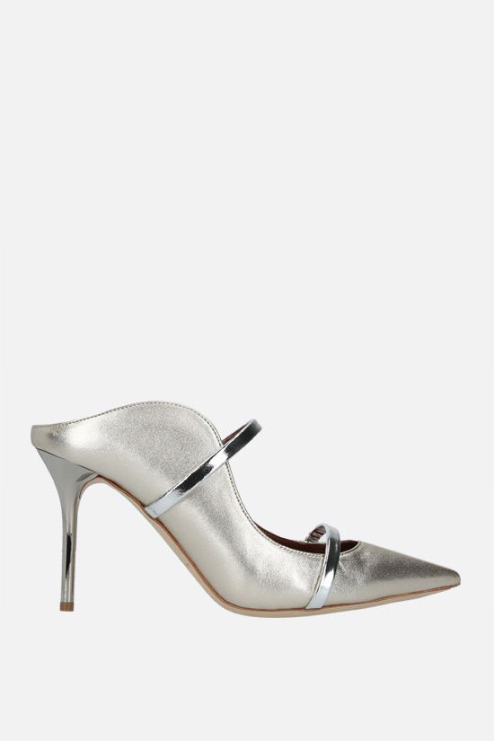 MALONE SOULIERS: Maureen laminated nappa mules Color Silver_1