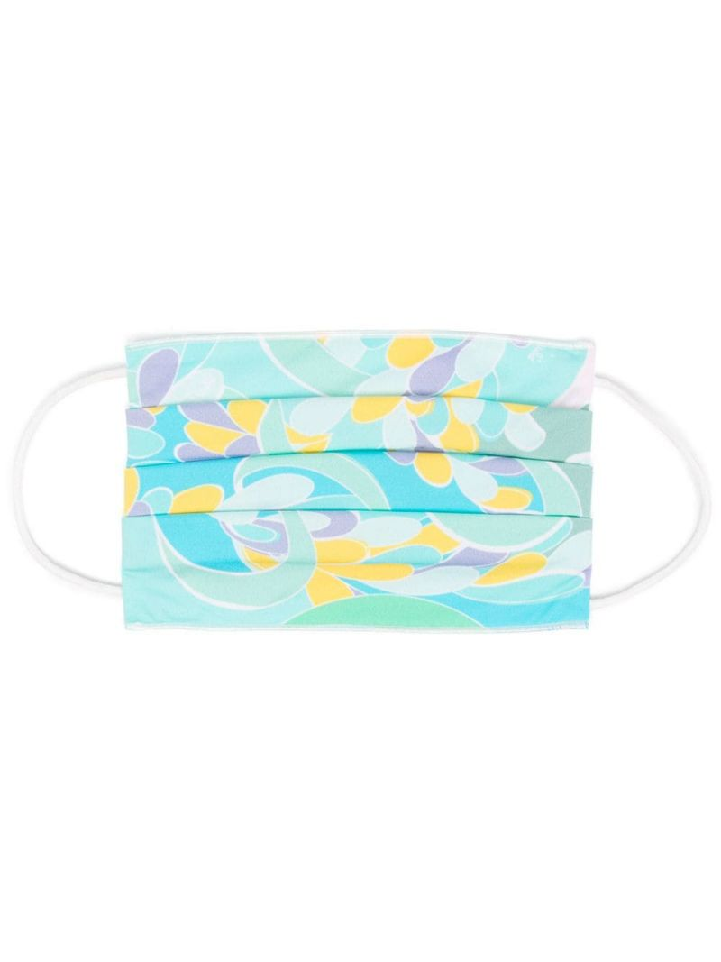 EMILIO PUCCI: Lilly print nylon face mask Color Blue_1