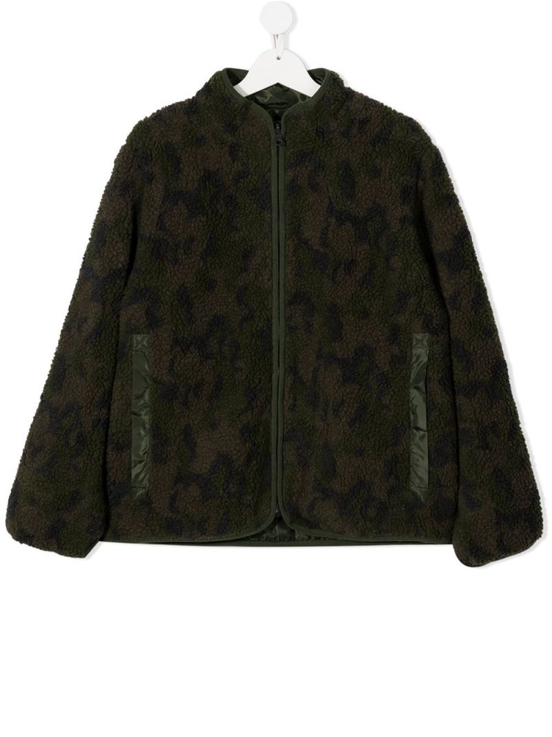 STELLA McCARTNEY KIDS: reversible faux-fur and nylon jacket Color Green_1