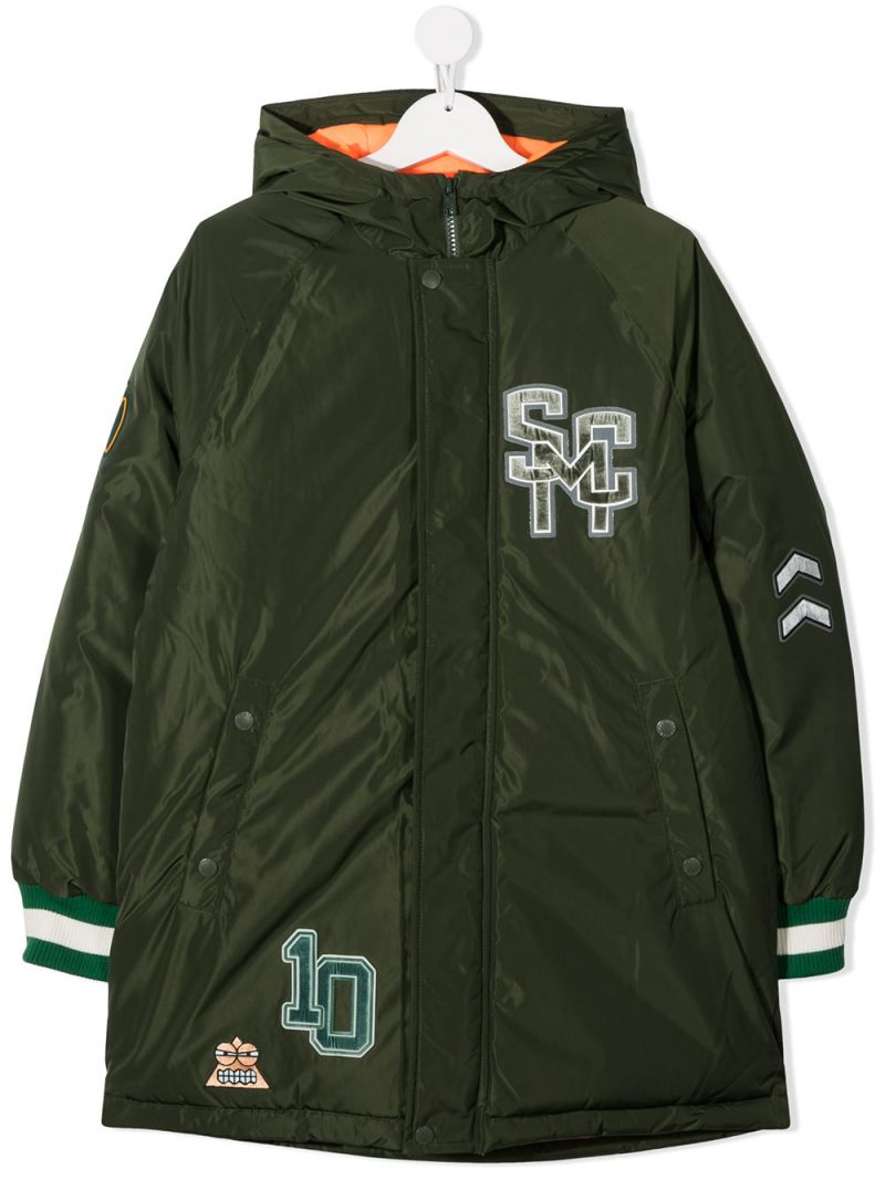 STELLA McCARTNEY KIDS: Varsity patch nylon padded jacket Color Green_1