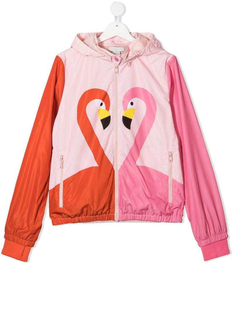 STELLA McCARTNEY KIDS: flamingo print nylon windbreaker Color Multicolor_1