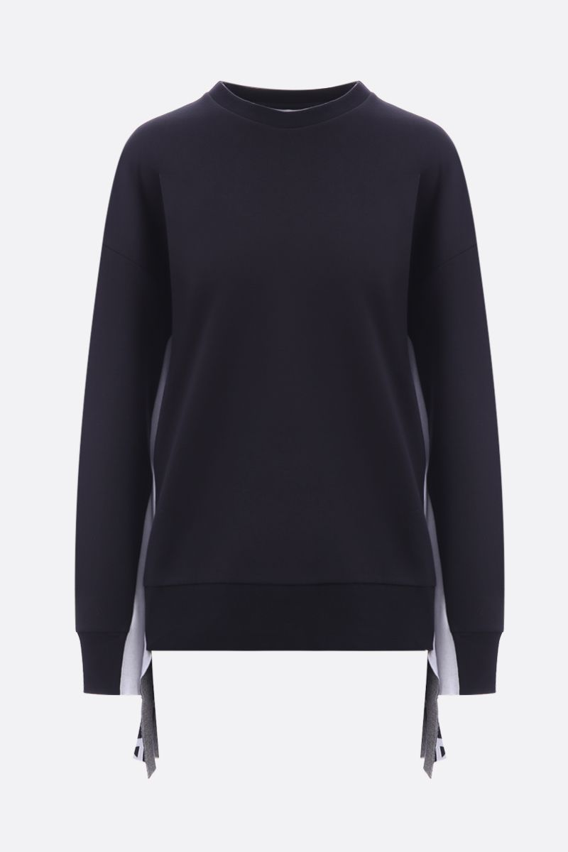 STELLA McCARTNEY: jersey sweatshirt with logoed inserts Color Black_1