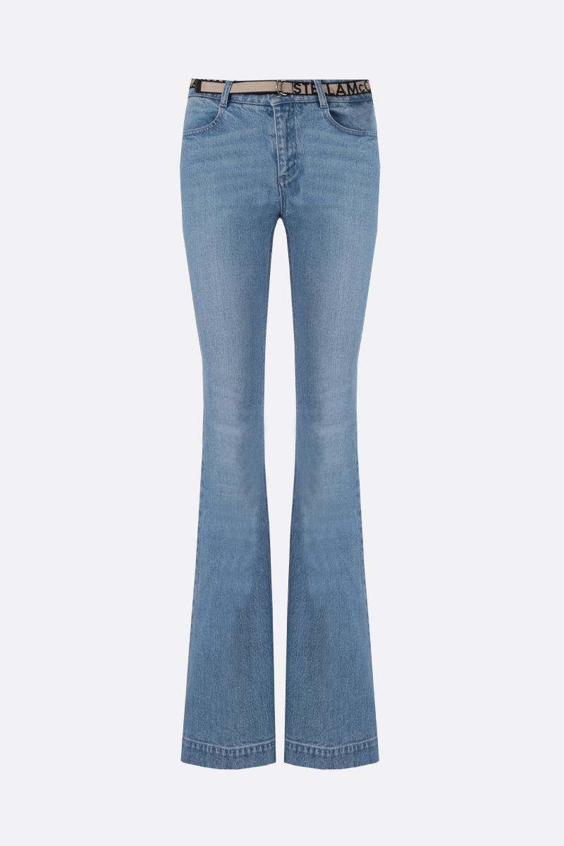 STELLA McCARTNEY: logoe belt-detailed flare jeans_1