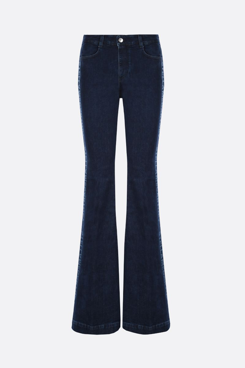 STELLA McCARTNEY: logo print flare jeans Color Blue_1
