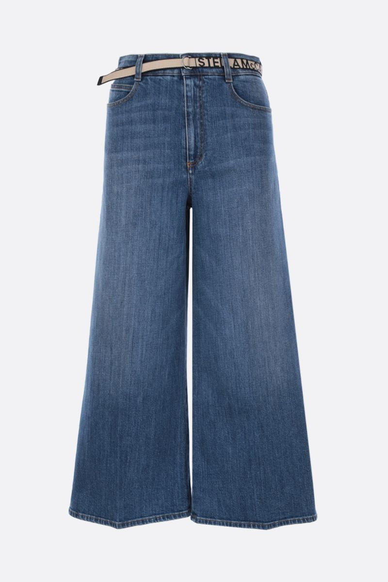 STELLA McCARTNEY: cropped wide-leg jeans with logoed belt_1