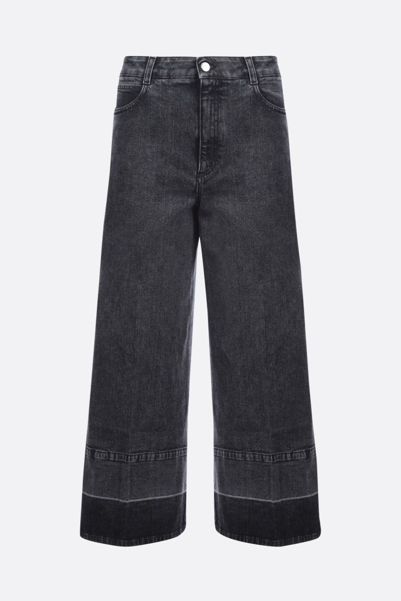 STELLA McCARTNEY: logo tape-detailed cropped wide-leg jeans Color Black_1