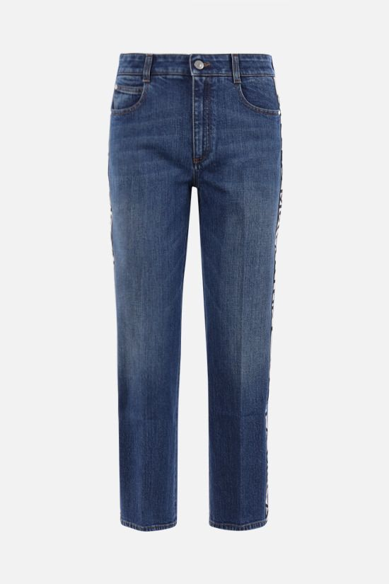 STELLA McCARTNEY: logo band-detailed cropped jeans Color Blue_1