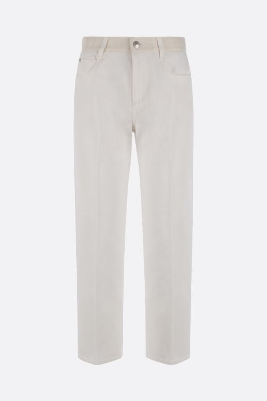 STELLA McCARTNEY: logo band-detailed cropped jeans Color White_1