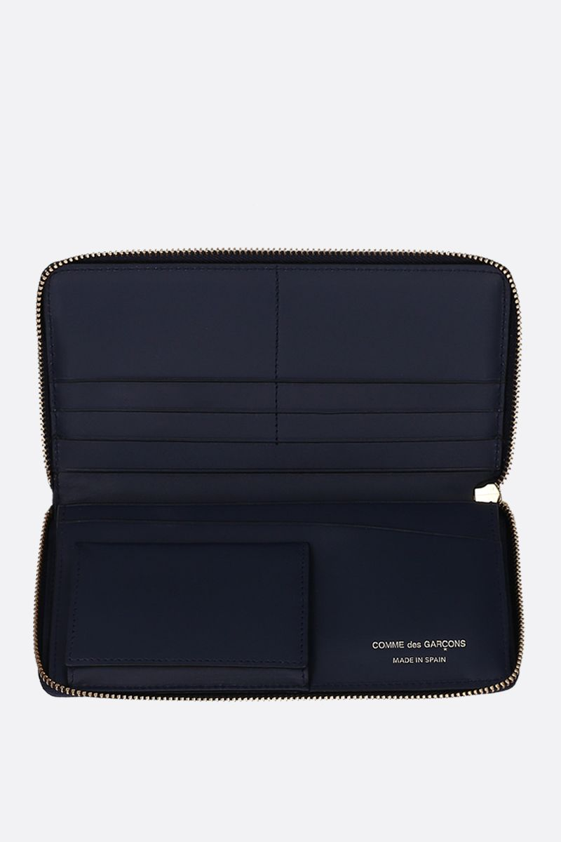 COMME des GARCONS WALLET: smooth leather zip-around wallet Color Blue_2