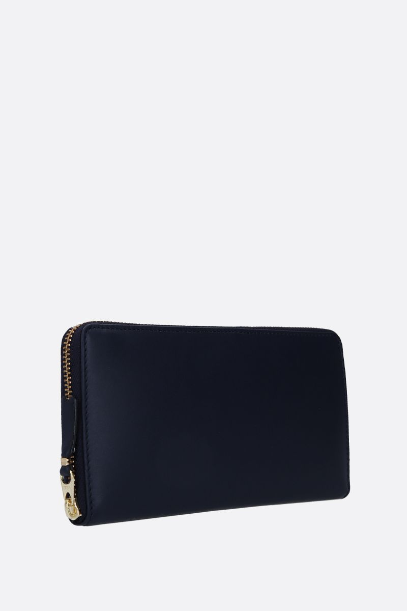 COMME des GARCONS WALLET: smooth leather zip-around wallet Color Blue_3