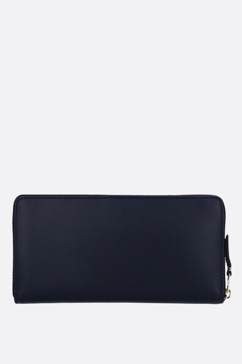 COMME des GARCONS WALLET: smooth leather zip-around wallet Color Blue_4
