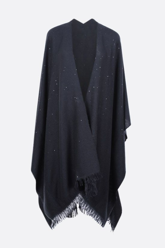 BRUNELLO CUCINELLI: sequinned cashmere silk blend cape Color Blue_1