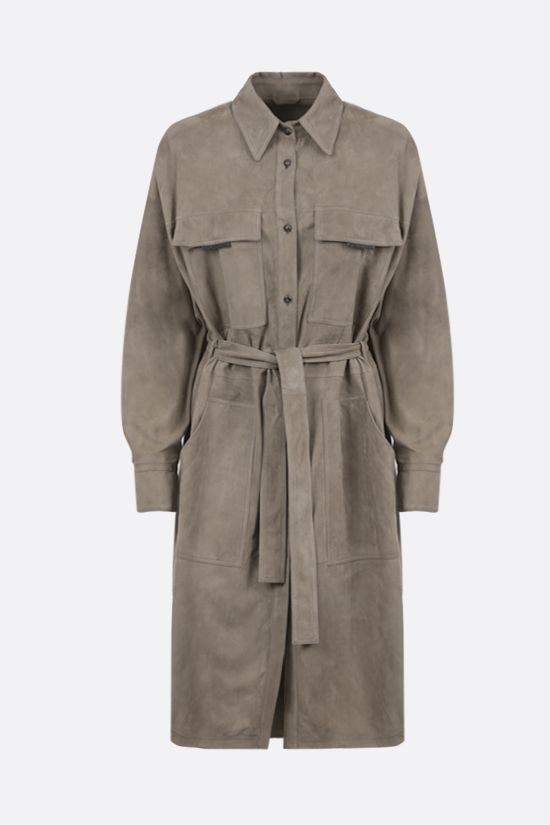 BRUNELLO CUCINELLI: belt-detailed soft suede overcoat Color Neutral_1