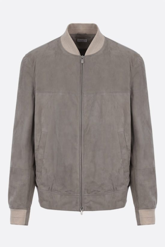 BRUNELLO CUCINELLI: soft suede bomber jacket Color Brown_1