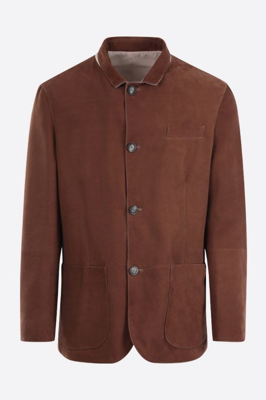 BRUNELLO CUCINELLI: soft leather and microfiber reversible jacket Color Brown_1