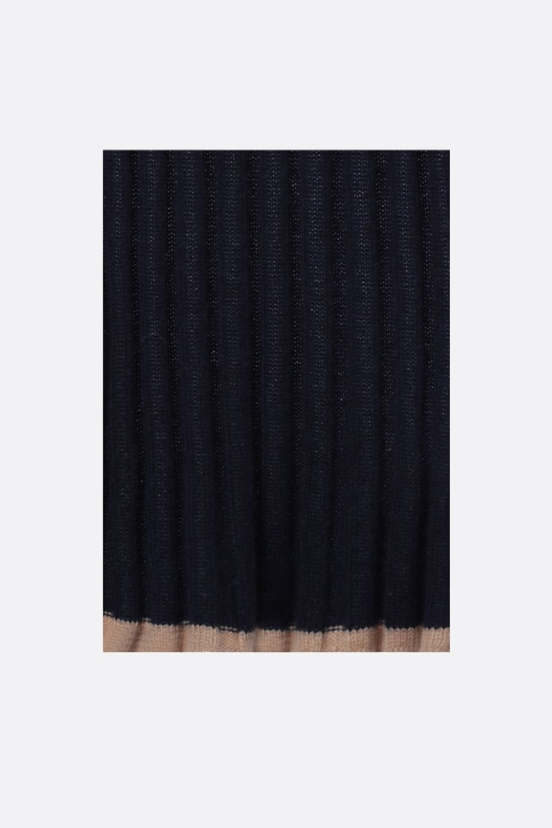 BRUNELLO CUCINELLI: rib knit cashmere scarf Color Blue_1