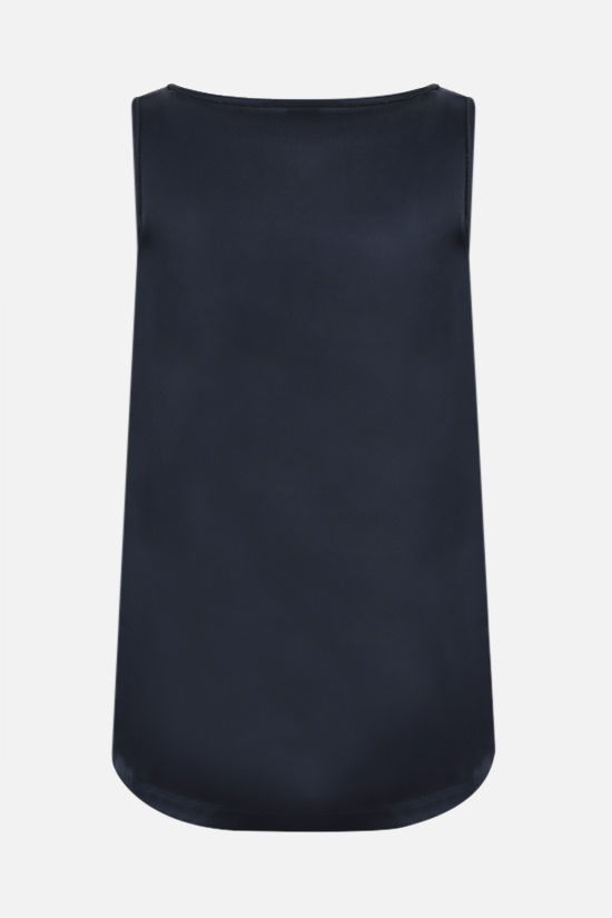 BRUNELLO CUCINELLI: monili-detailed stretch silk sleeveless top Color Blue_2