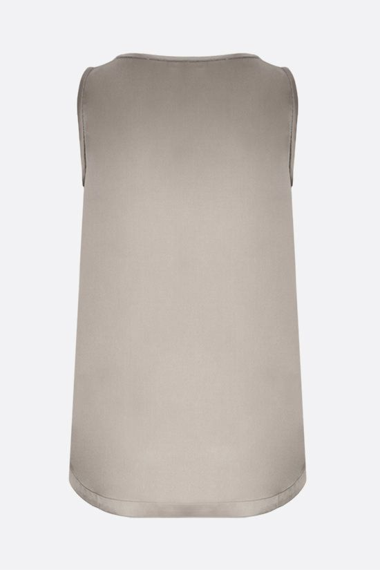 BRUNELLO CUCINELLI: monili-detailed stretch silk sleeveless top Color Neutral_2