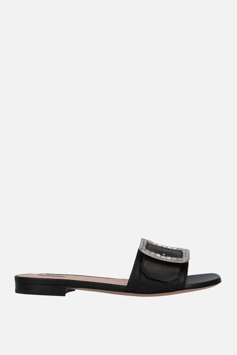BALLY: Janna slide sandals in smooth leather Color Black_1