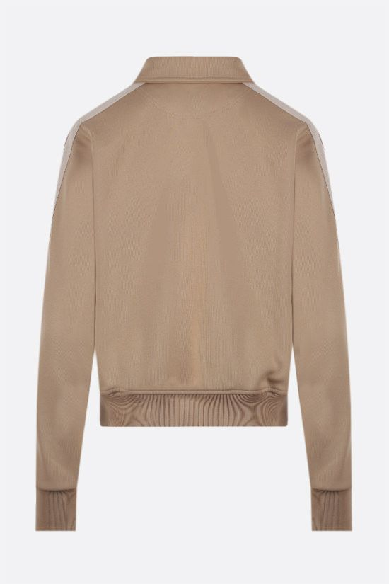 PALM ANGELS: shirt collar technical jersey full-zip sweatshirt Color Neutral_2