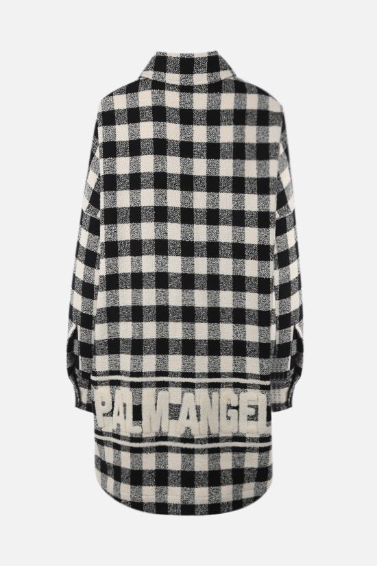 PALM ANGELS: logo-detailed oversize checkered bouclè overshirt Color Black_2