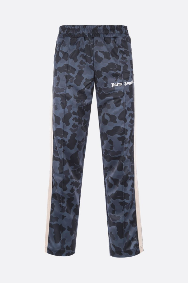 PALM ANGELS: camouflage print technical jersey track pants Color Black_1
