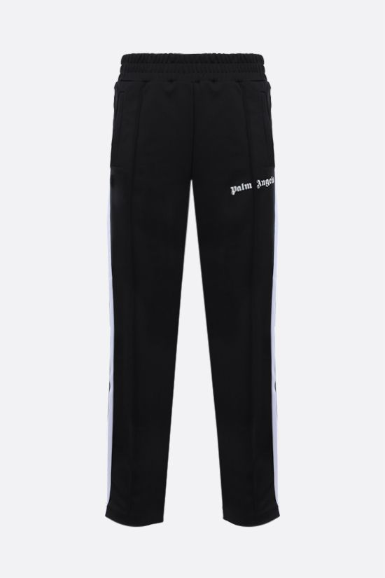 PALM ANGELS: pantalone jogging in jersey tecnico stampa logo Colore Nero_1