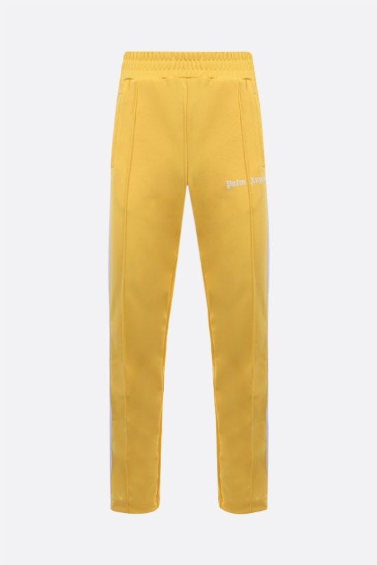 PALM ANGELS: logo print technical jersey joggers Color Yellow_1