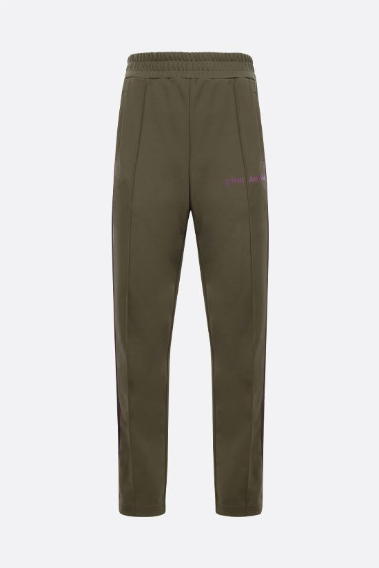 PALM ANGELS: pantalone jogging in jersey tecnico stampa logo Colore Verde_1