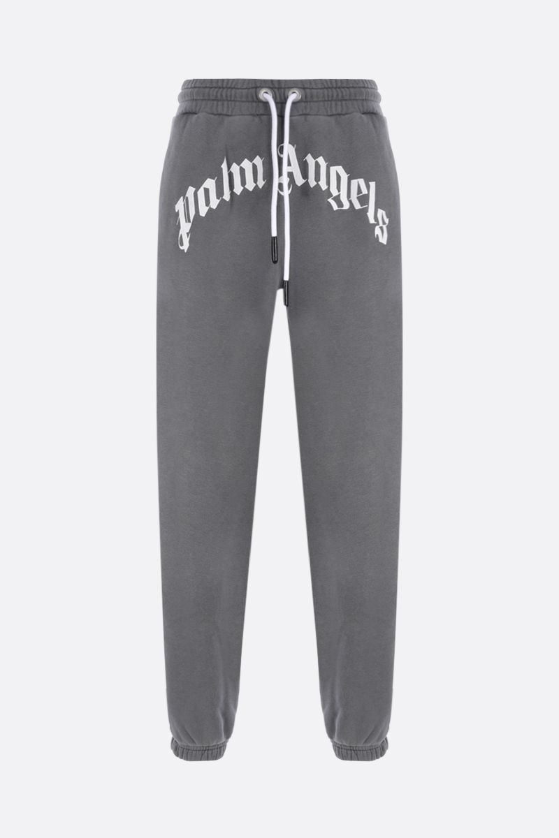 PALM ANGELS: Curved Logo cotton joggers Color Grey_1