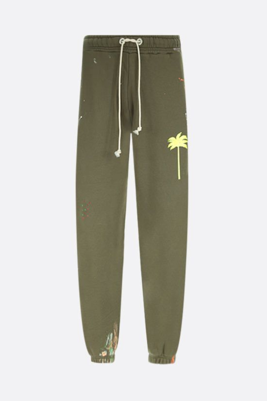 PALM ANGELS: Painted Palm Tree cotton joggers Color Green_1