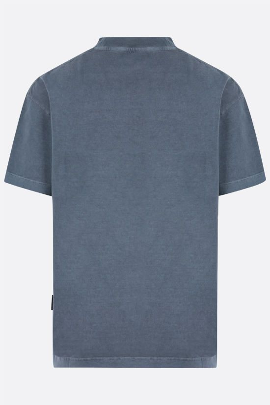 PALM ANGELS: t-shirt Curved Logo in cotone Colore Blu_2