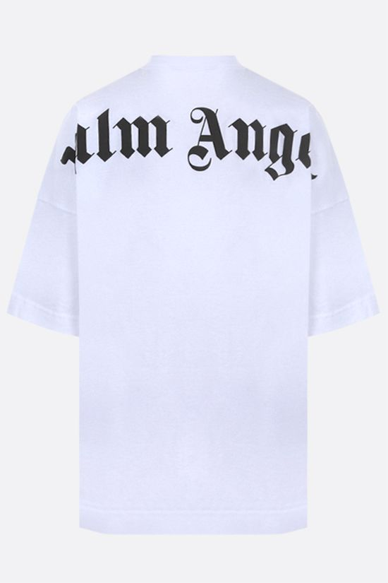 PALM ANGELS: logo print cotton oversize t-shirt Color White_2