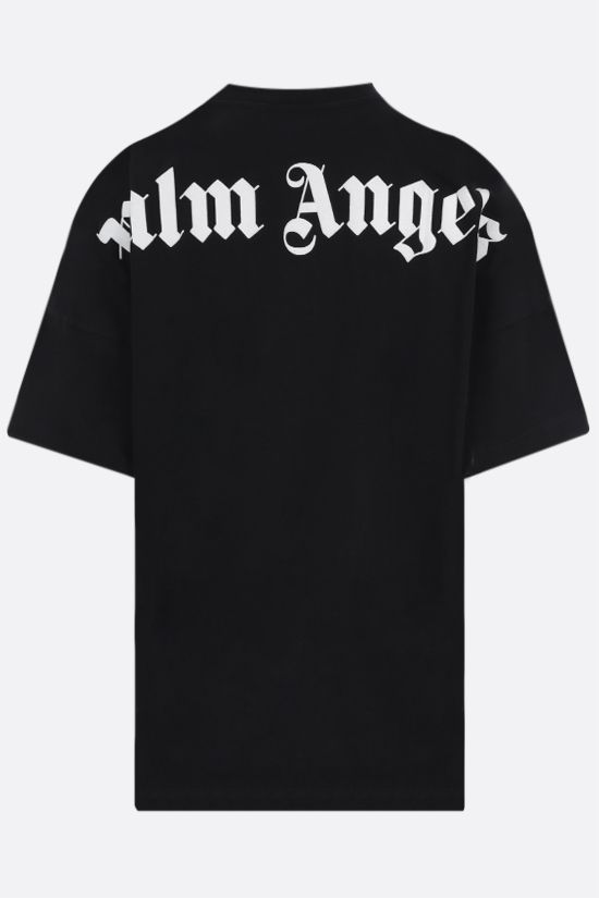 PALM ANGELS: logo print cotton oversize t-shirt Color Black_2