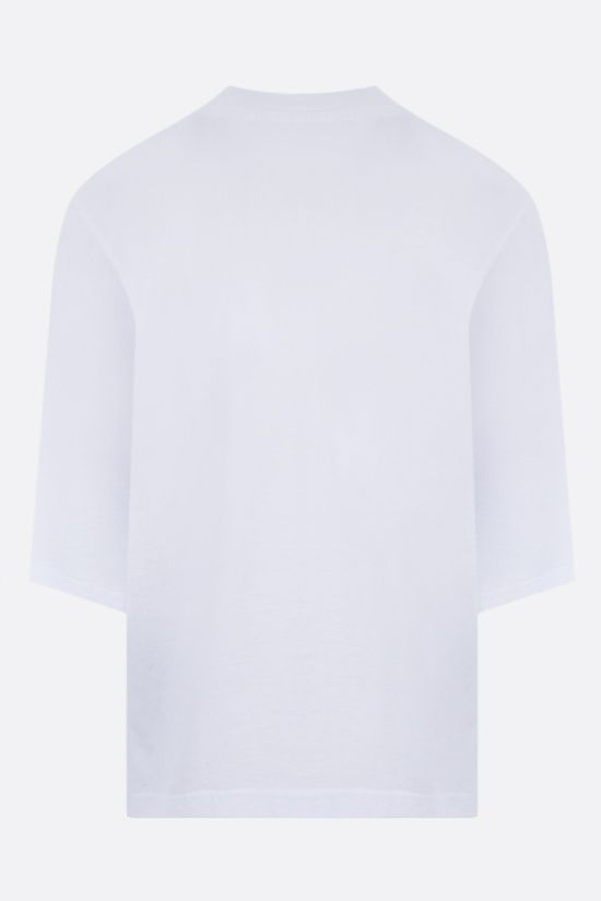 PALM ANGELS: t-shirt cropped Miami Logo in cotone Colore Bianco_2