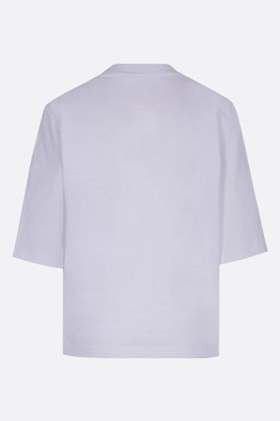 PALM ANGELS: t-shirt cropped Classic Logo in cotone Colore Bianco_2