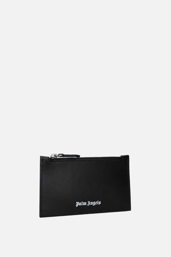 PALM ANGELS: porta carte con zip Essential in pelle liscia Colore Nero_2