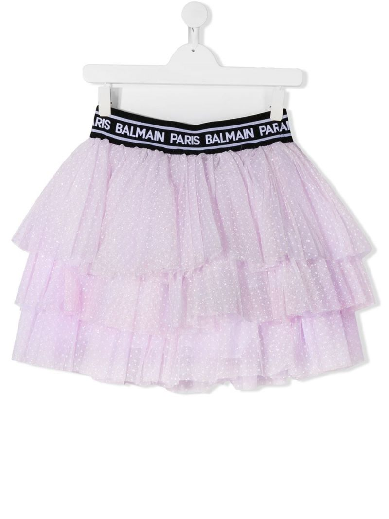 BALMAIN KIDS: plumetis tulle flounced skirt Color Pink_1