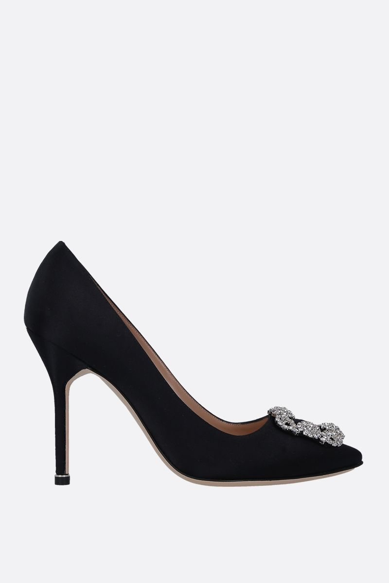 MANOLO BLAHNIK: dècolletè Hangisi in raso Color Black_1