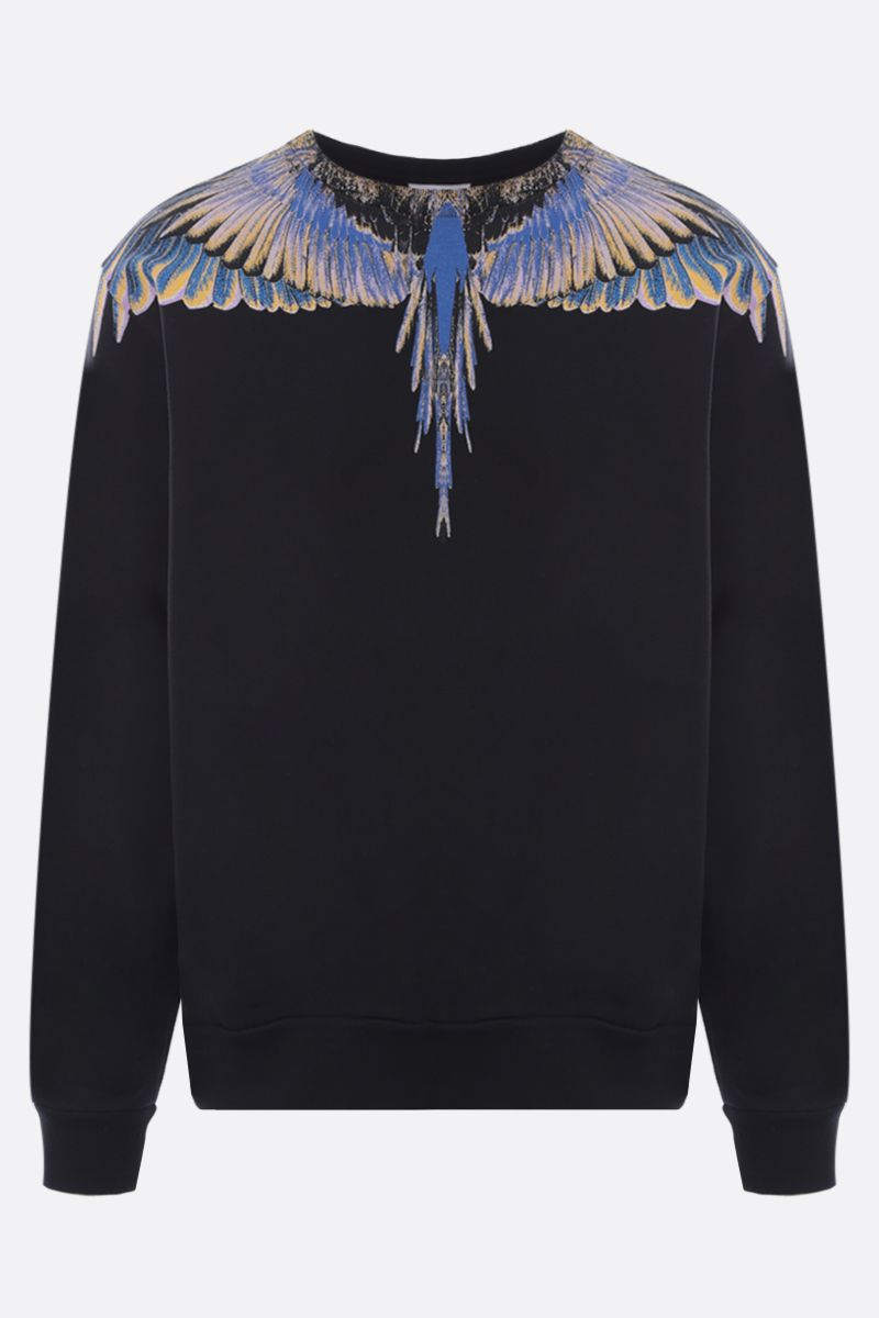 MARCELO BURLON COUNTY OF MILAN: Wings print cotton sweatshirt Color Black_1