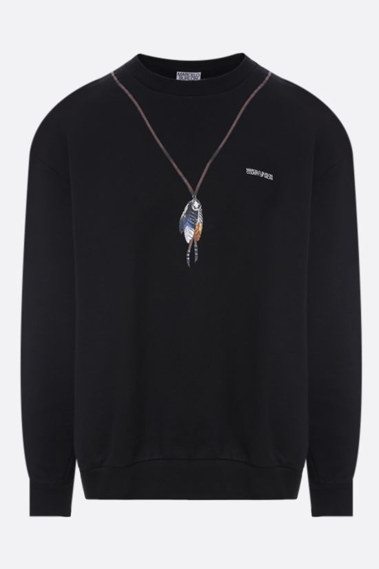 MARCELO BURLON COUNTY OF MILAN: Single Chain Feathers oversize cotton sweatshirt Color Black_1