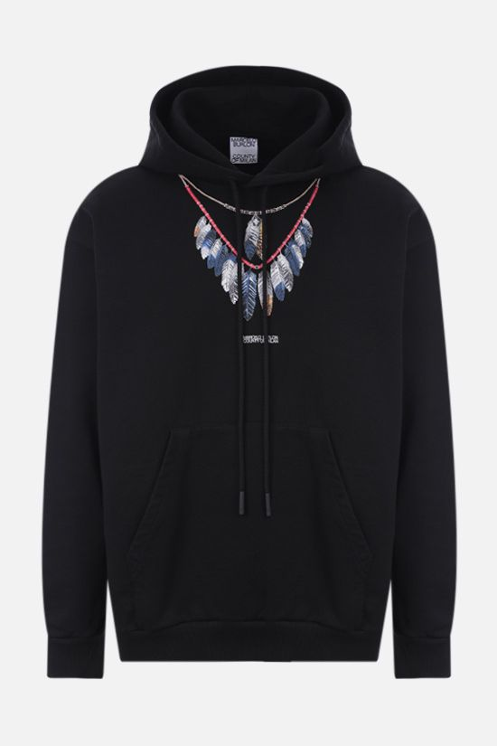 MARCELO BURLON COUNTY OF MILAN: Double Chain Feathers oversize cotton hoodie Color Black_1