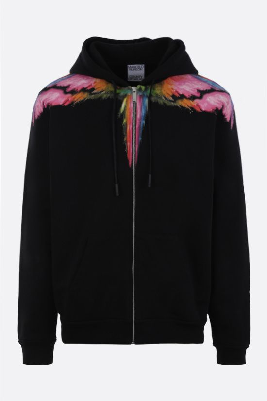 MARCELO BURLON COUNTY OF MILAN: Colordust Wings cotton full-zip hoodie Color Black_1