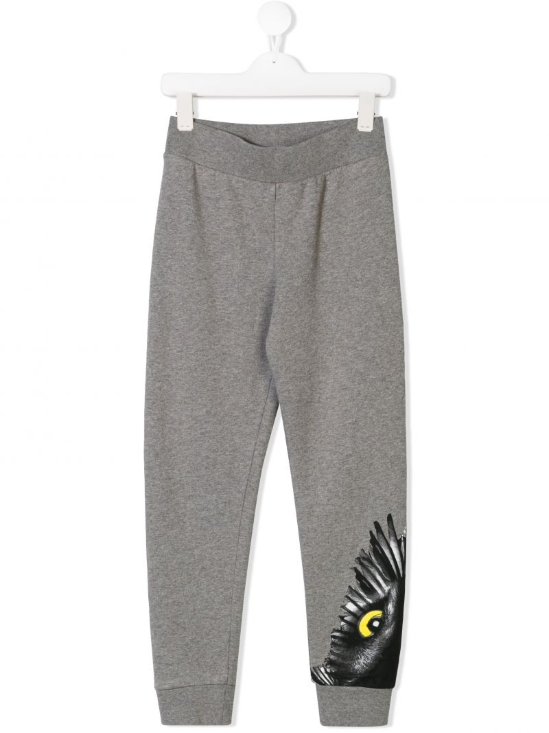 MARCELO BURLON KIDS OF MILAN: Owl print sweat joggers Color Grey_1